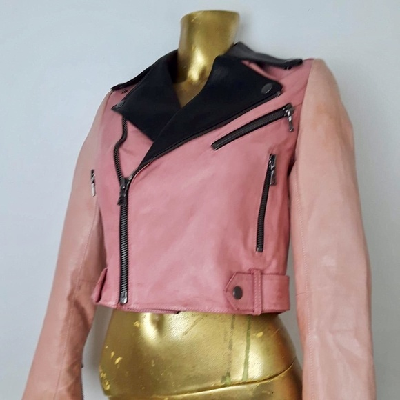 8df52703 Alice + Olivia Jackets & Coats | Alice Olivia Crop Pink Leather ...